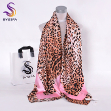 [BYSIFA] Pink Coffee Leopard Print Ladies Silk Scarf New Fashion Accessories Large Size Women Muslim HeadScarves Wraps 130*130cm