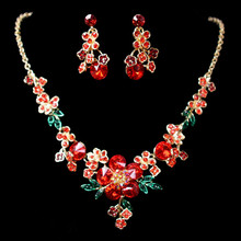 2017 Fashion Bling Gorgeous Crystal Flower Earrings Necklace 3 Pieces Jewelry Set Wedding Jewelry Accessories Made in China