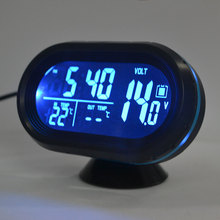 DC 12-24V LED Lighted Digital Car Clock Thermometer Auto Dual Temperature Gauge Voltmeter Voltage Tester