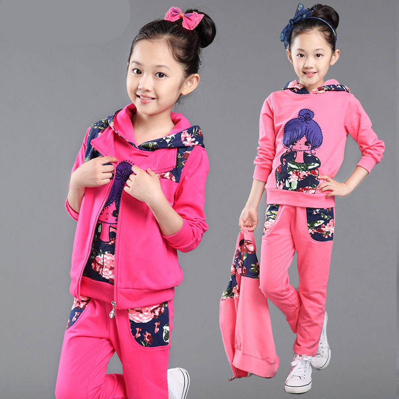 girls clothes autumn  kids sport suit children clothing set cartoon girl print hooded 3 pcs 4-12 years girls clothes tracksuit<br>
