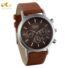 Lancardo 2017 Fashion Quartz Wristwatch Mens Watches Top Brand Luxury Famous Male Clock Brown Leather Wrist Watch Male Hodinky(China)