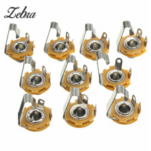 10pcs/set 1/4 inch Metal Guitar Jack Socket Connector Female Panel Mount for all Acoustic Electric Bass Guitar