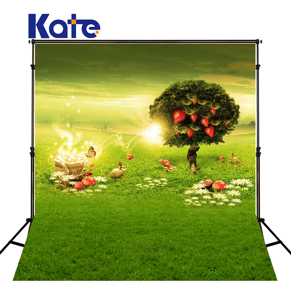 1.5M*2M(5*6.5 Ft) Kate Gorgeous Prairie  Easter  Photography Backdrop  Tree  Rabbit  Mushroom Photography Backgrounds<br>