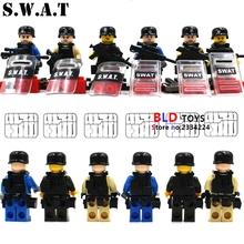 6pcs super heroes marvel City Navy Swat Police military army building blocks action  sets model bricks toys for children