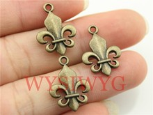 WYSIWYG 10pcs 22*18mm Antique Bronze Color Double Sided Fleur De Lis Charms(China)