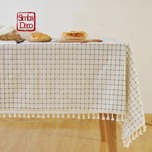Mediterranean Plaid Cotton Table Cloth Cover Tassel Dining Table Tablecloth For Outdoor Picnic Party Wedding Decoration Cover(China)