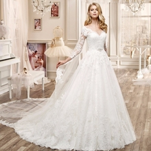 2017 robe de mariage vestido de noiva Ball Gown Elegant V neck Long Sleeve Lace Bridal Dress Cheap Wedding Dress Made In China