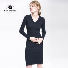 Eileen Elisa Knitted Dresses High Quality Fashion Sheath Dresses 2017 Fashion Sexy Knitted Dress With Hole Sleeve(China)