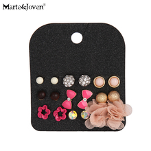 [Marte&Joven] Fashion Mixed Lovely Bow Gold Ball Stud Earrings For Girl Pink Style Rose Flower Earring Sets 9 Pairs Wholesale