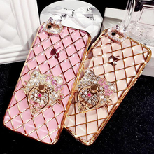 Hot New Plating Bling Diamond Case For iPhone 6 6s / 6s Plus Soft TPU Metal Ring Kitty Stand Phone Cover For iPhone 6s(China)