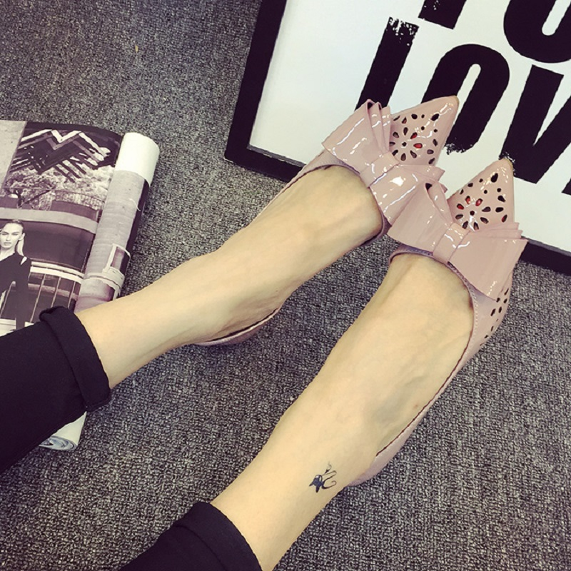Free shipping spring and summer sweet bow hollow pointed shallow mouth low-heeled shoes<br><br>Aliexpress