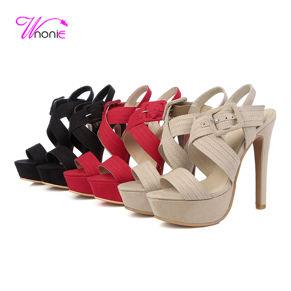 2017 New Fashion Womans Sandals Cross-strap Thin Heel Platform Buckle PU Leather Rome Style Casual Party Daily Summer Lady Shoe<br><br>Aliexpress