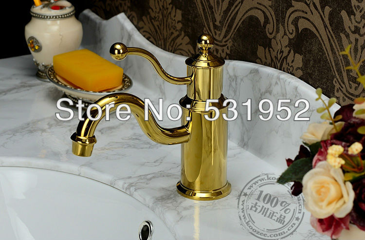 single lever basin mixer tap faucet gold color single handle lavatory high grade brass copper hotel bathroom classic<br><br>Aliexpress