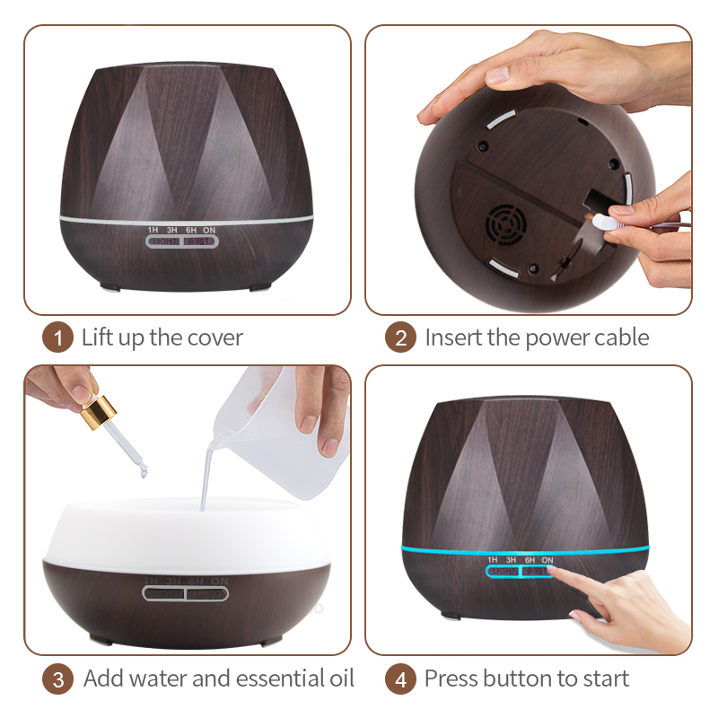 Air Humidifier Essential Oil Diffuser 500ML 15