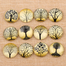onwear mixed handmade black tree photo glass round cabochon 10mm 12mm 14mm 18mm 20mm 25mm diy cameo jewelry findings(China)