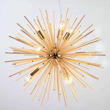 Post-modern Gold Pendant Lights Living Room Restaurant Study led radiation sphere art Personality design pendant lamp(China)