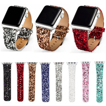 DAHASE Bling Christmas Shiny Glitter PU Leather Band for Apple Watch Series 3 2 1 Strap Belt for iWatch 38mm 42mm Watchbands(China)