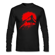 Adult Slim Causual T Shirt Site Born from blood T with Red Battle Man Men Good Selection Long Sleeve Clothing(China)