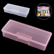 1pc Nail Polish Holder Plastic Supplies Storage Box Rectangle Art Studs Brushes Tools Case Manicure