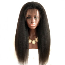 Feibin Synthetic Lace Front Wigs For Black Women Yaki Straight Long 24inch 60cm Afro Brown Heat Resistant Fiber Hair(China)