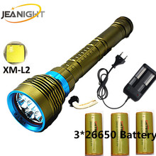 Diving Flashlight 200 meters Underwater XM-7*L2 T6 LED Lanttern scuba Diver Torch Light lamp for 3x18650 or 26650 for diving