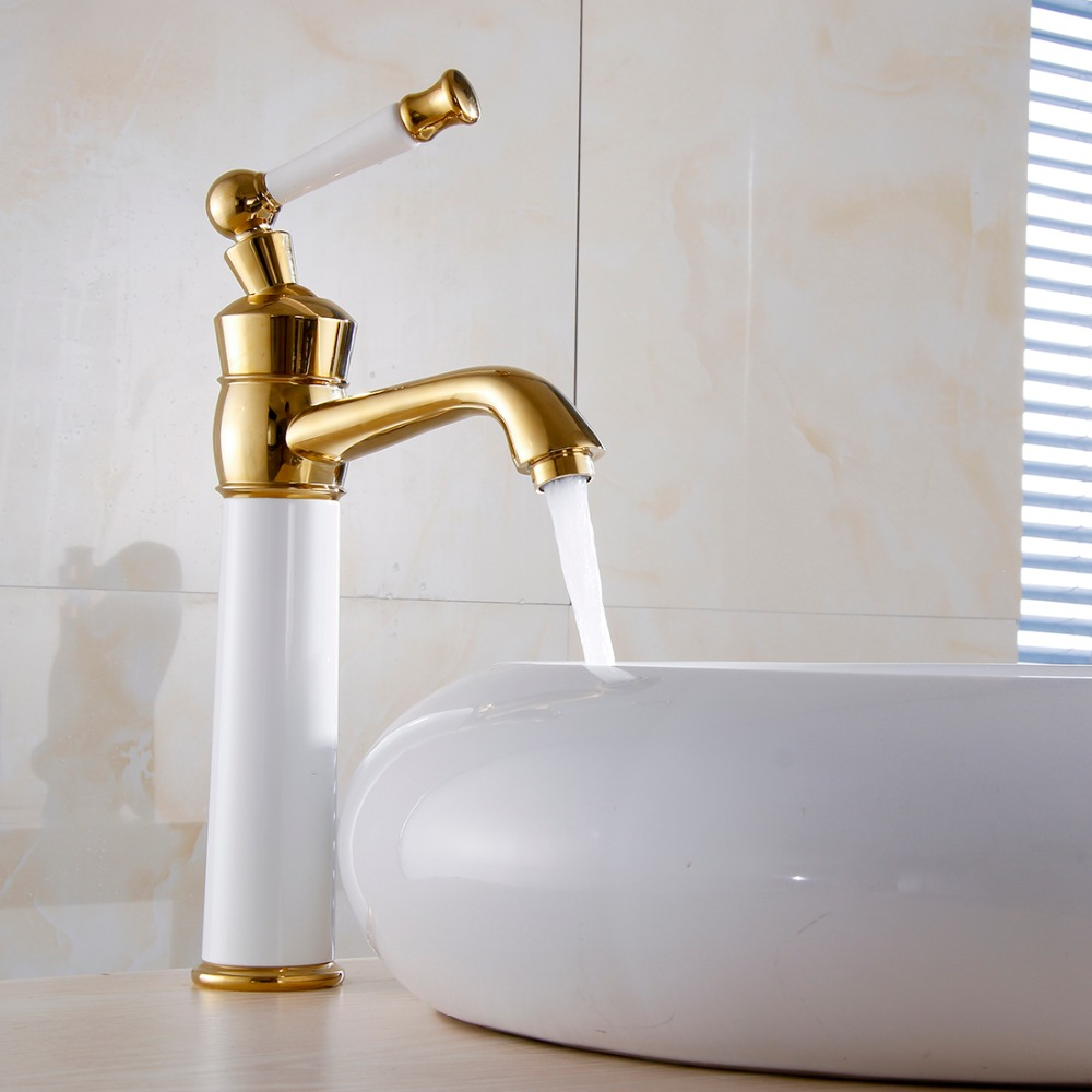 Free Shipping Single Handle Deck Mounted Curved Tall Bathroom Sink Faucet FLG100247,High End White and Gold Basin Sink Faucet<br><br>Aliexpress