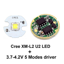 16MM Cree XM-L2 U2 LED Star Cool white + 17mm Cree XM-L/XM-L2 Flashlight Driver 5 Modes 3.7-4.2V flashlight Circuit Board(China)
