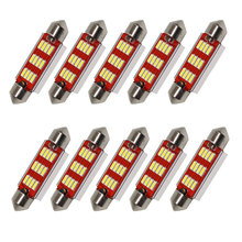 10pcs/Lot Led Festoon Size 36mm 39mm 41mm Dome Light 12SMD 4014 SMD CANBUS Car Interior Bulbs c5w License Plate Lights 12v New