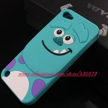 For ipod touch 5 Cute 3D Sulley Cartoon soft silicone back case cover for ipod touch 5 5g free shipping