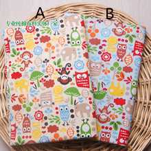 160cm*50cm monkey owl elephant cotton fabric baby infant bedding linens pillow curtain childrens nursery fabric sewing tissue