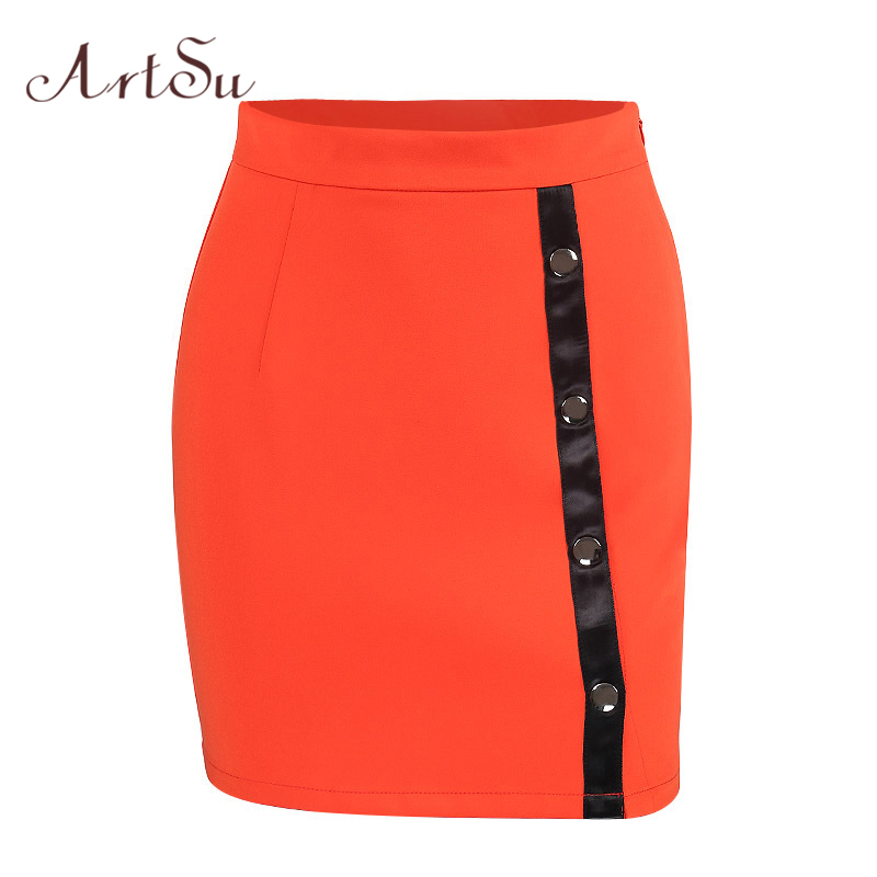 ArtSu Sexy Split Button Mini Skirt Women Bottom Casual 2018 Summer Pencil Skirts Female Streetwear High Waist Saia ASSK30045