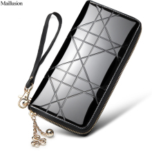 Maillusion Fashion Women Wallets Clutch Long Designer Zipper Plaid Patent Leather Female Wallet Geniuen Leather Money Pocket(China)