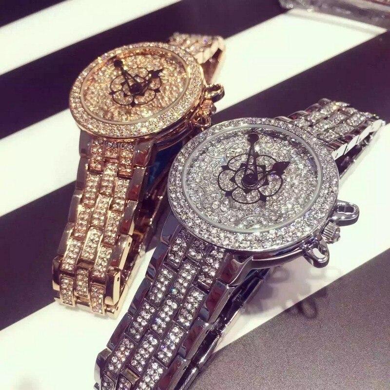 Hot Luxury Quartz Female Form Genuine Quartz Female Watch Mashali Flowers Full Diamond Crystal Bracelet Watch Relogios Feminino<br>