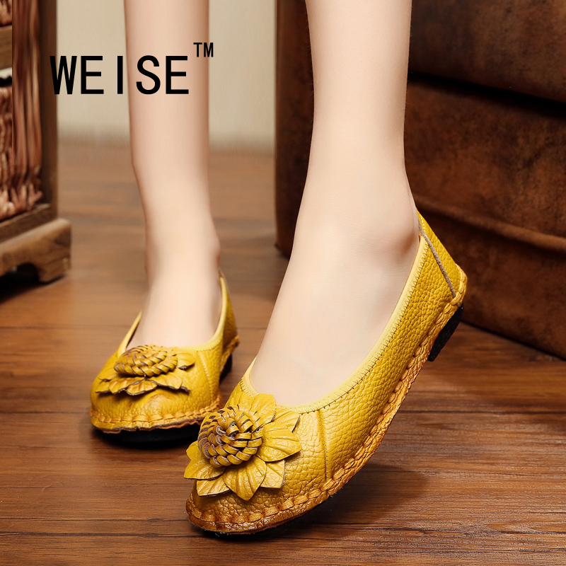 Spring/Autumn National Wind Slip On  Loafers Genuine Leather Shoes Handmade Flowers Flat Shoes Soft Bottom  Women Shoes Peas<br><br>Aliexpress