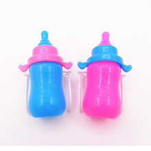 "Baby Dolls Accessories Magic Feeding Bottles for Barbies Kelly 11"" Rose and Blue Color(China)"