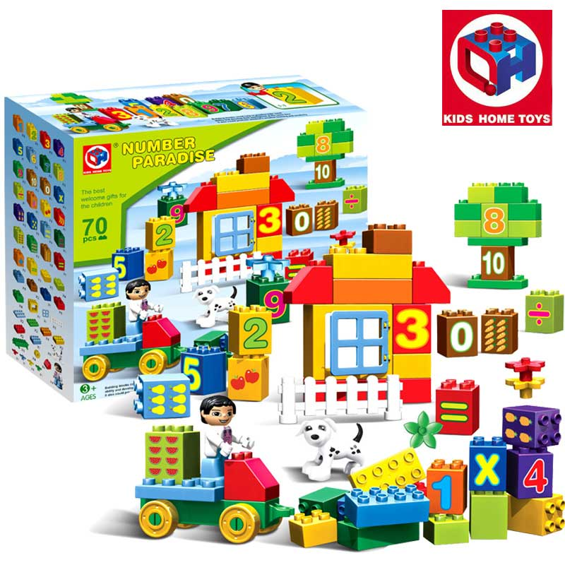 70PCS Large Size Numbers Paradise Park Model Building Blocks Educational Bricks Kids Home Toys Compatible With Duplo Kids Gift<br>