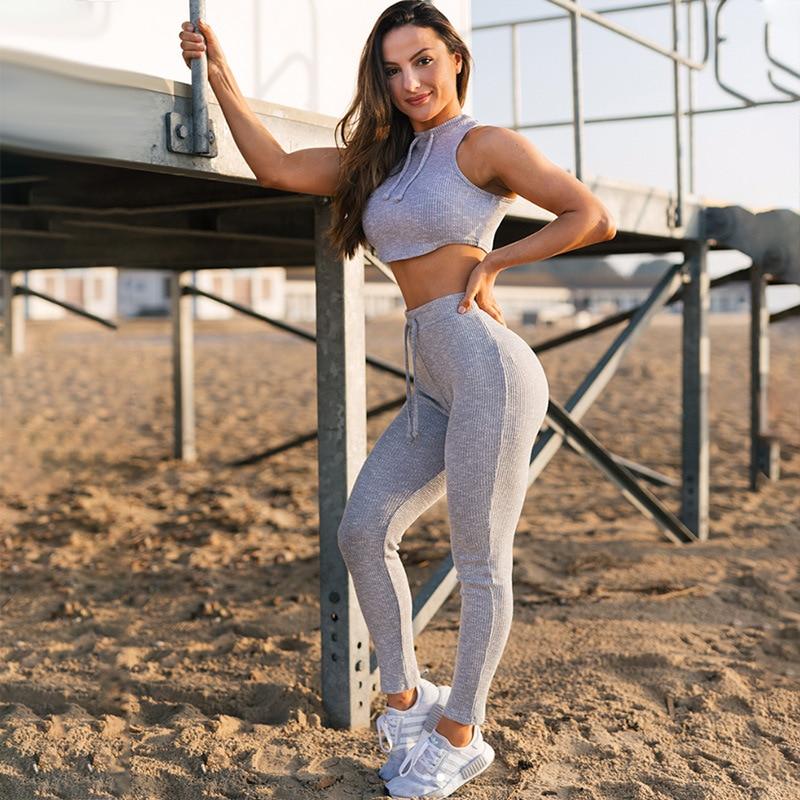 2PCS Soft Women Ladies Outdoor Yoga Suits Stretch Quick Dry Sports Bras set