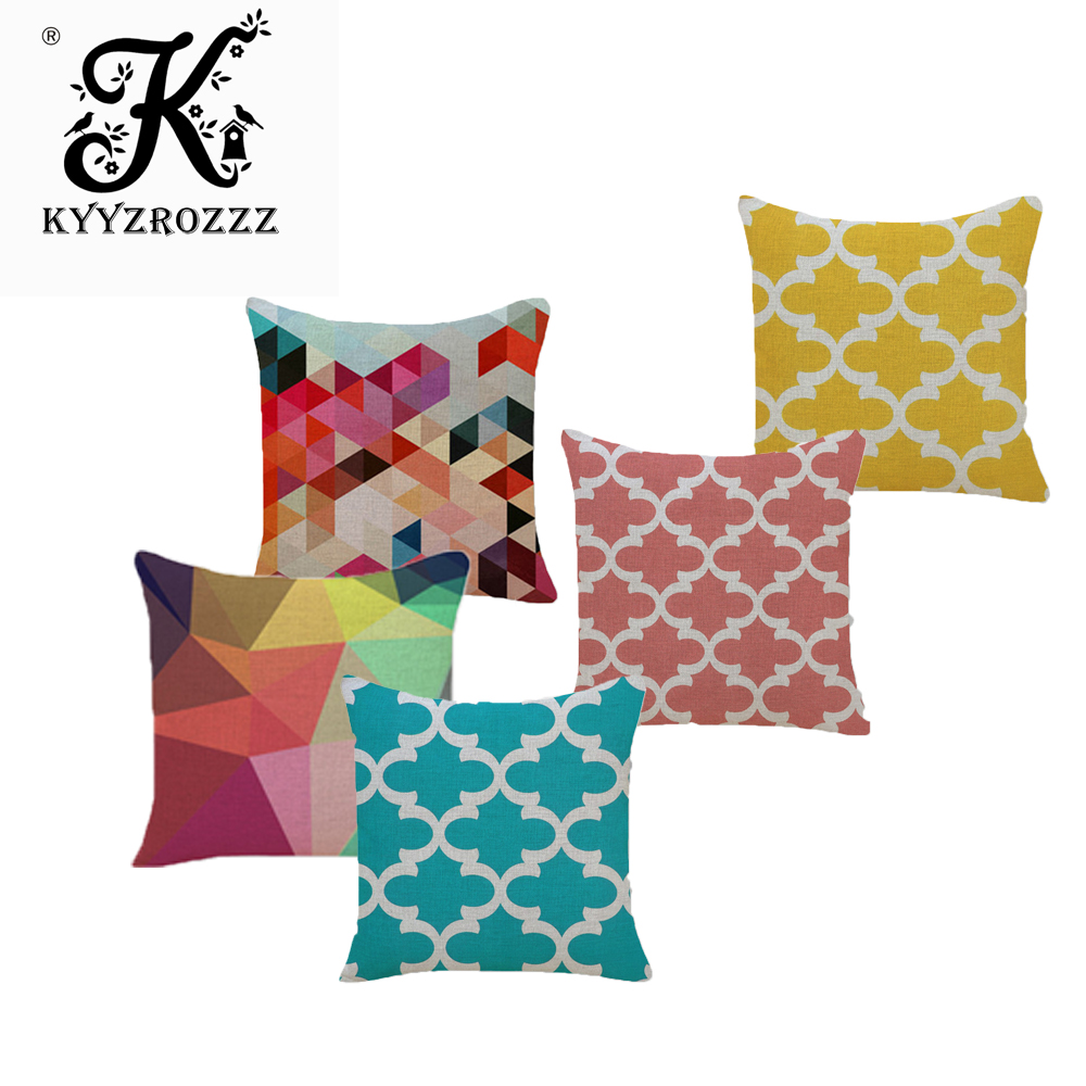 45x45cm Watercolor Yellow Cushion Cover Geometry Line Printed Throw Decorative Pillowcase Waist Pillow Cover Home Sofa Car Decor Cushion Cover