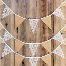 3M Vintage Chic Burlap Linen Lace Bunting Flags Pennant for Party Wedding Garland Decoration Product   Hot Sale