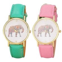 Hot Marketing New Women Elephant Printing Pattern Weave Leather Strap Buckle Green&Pink Dial Auto Date Quartz Watch Montre Femme(China)