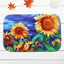 Colorful Sunflower Printed Doormat Living Room Entrance Welcome Mat Rugs Coral Fleece Bathroom Anti-slip Carpet Tapete Decor