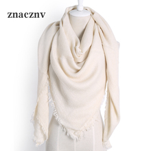 2017 Autumn Winter Women's Fashion Brand Cashmere Scarf High Quality Solid Color Acrylic Oversized Square Ladies Shawl and Wrap