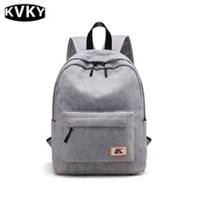 New Design KVKY Original Women's Backpack Fashion Canvas Laptop Bag School Backpacks Brand Solid Color New Fabric Schoolbag