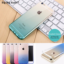 Gradient Cell Phone Case With Dust Plug For iPhone 7 7Plus 6 6s Plus 5 5s SE Ultra Thin Transparent TPU Silicon Phone Cover Capa(China)