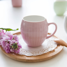 Candy Color Cup Ceramic Milk Cute Mug Coffee Cups Caneca Cup With Handgrip Pink Yellow Green Original Taza Copo With Guarantee