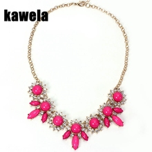 Free Shipping Hot Pink Collar Choker Necklace, Crystal Elegant Delicate Necklace