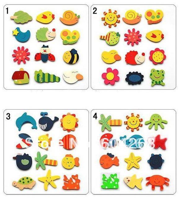 Free Shipping 240pcs/lot wooden cartoon fridge magnets/wooden cartoon magnetic stickers/fantastic creative toys