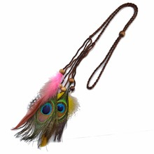 Hot Sale Indian Exotic Peacock Feather Tassel Fashion Headbands Handmade Weave Leather Chain Wooden Beaded Hairband Hair Jewelry(China)