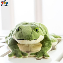 Simulation Plush Green Frog Toy Stuffed Animal Doll Baby Kids Children Birthday Gift Home Shop Decoration Ornament Triver