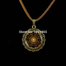 Summer Style Jewelry Vintage Oval Flower Printing Alloy Pendant Vintage Glass Cabochon Statement Mandala Leather Necklace  L 230